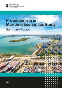 Cover of the protectionism in maritime economies study (summary report)